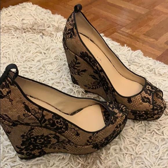 344216f96dc7 Jimmy Choo Shoes - Jimmy Choo Lace Baroque Wedge Heels